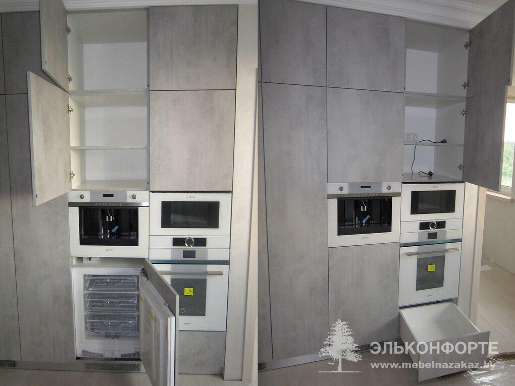 Прямая современная кухня Бетон